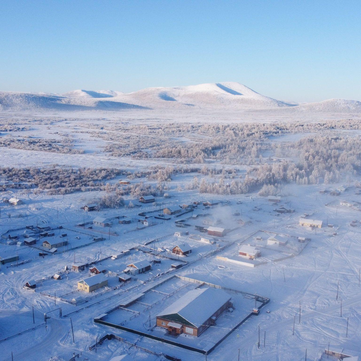 Najchladnejšia dedina sveta Ojmiakon z vtáčej perspektívy