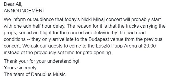 Koncert Nicki Minaj v Budapešti už museli o posunúť. Zopakuje sa tam scenár z Bratislavy?