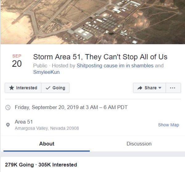 c1c0ed6e8 Viac ako 500-tisíc ľudí chce vbehnúť do vojenskej základne Area 51.  Internetový vtip