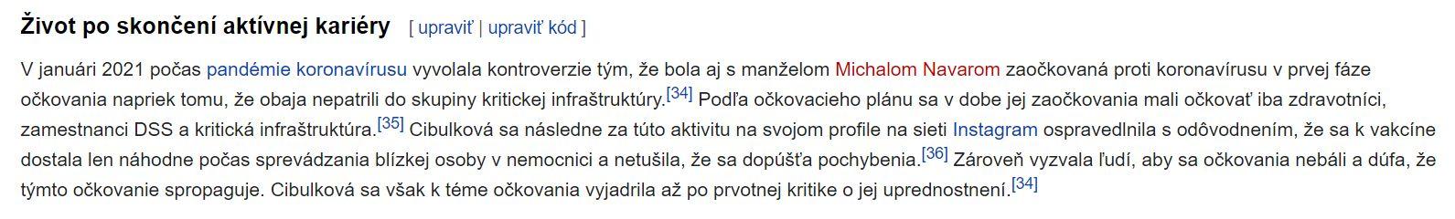 """Dominike Cibulkovej už niekto škandál s očkovaním pridal Wikipediu. """"K vakcíne sa dostala náhodne,"""" cituje stránka jej obhajobu"""