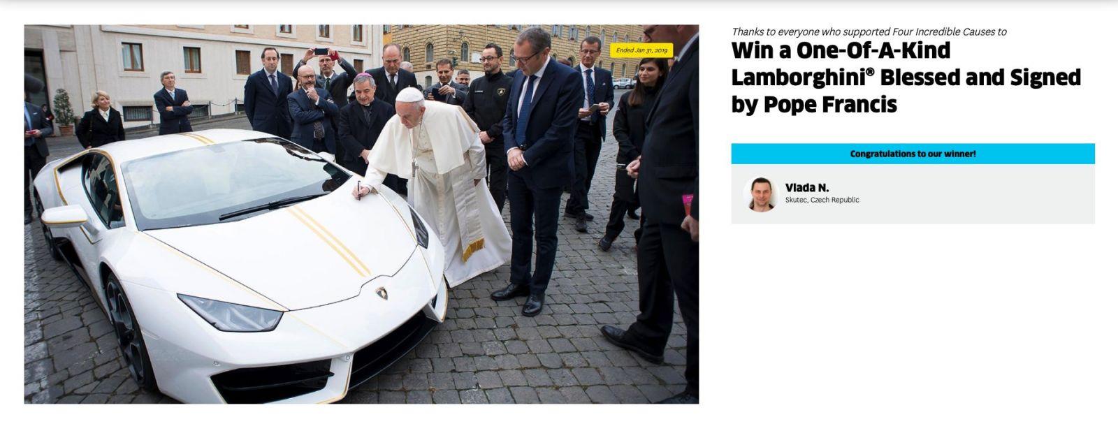 Papežovo Lamborghini putuje do Česka! V loterii jej vyhrál Vladislav z Pardubicka