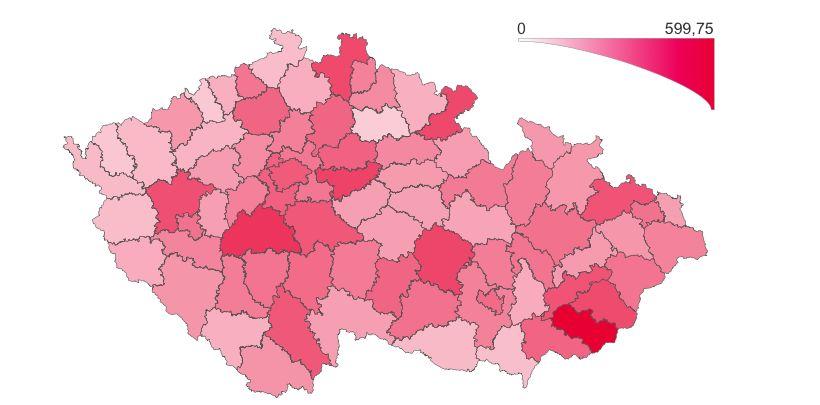 Přehled výskytu laboratorně prokázaného onemocnění COVID‑19 podle regionu