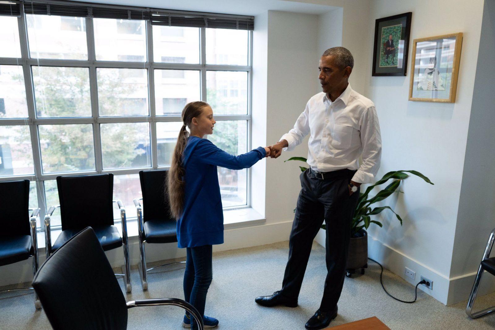 Obama sa stretol s mladou aktivistkou Gretou Thunberg, po diskusii o environmentálnych problémoch, jej povedal: Ty a ja sme tím
