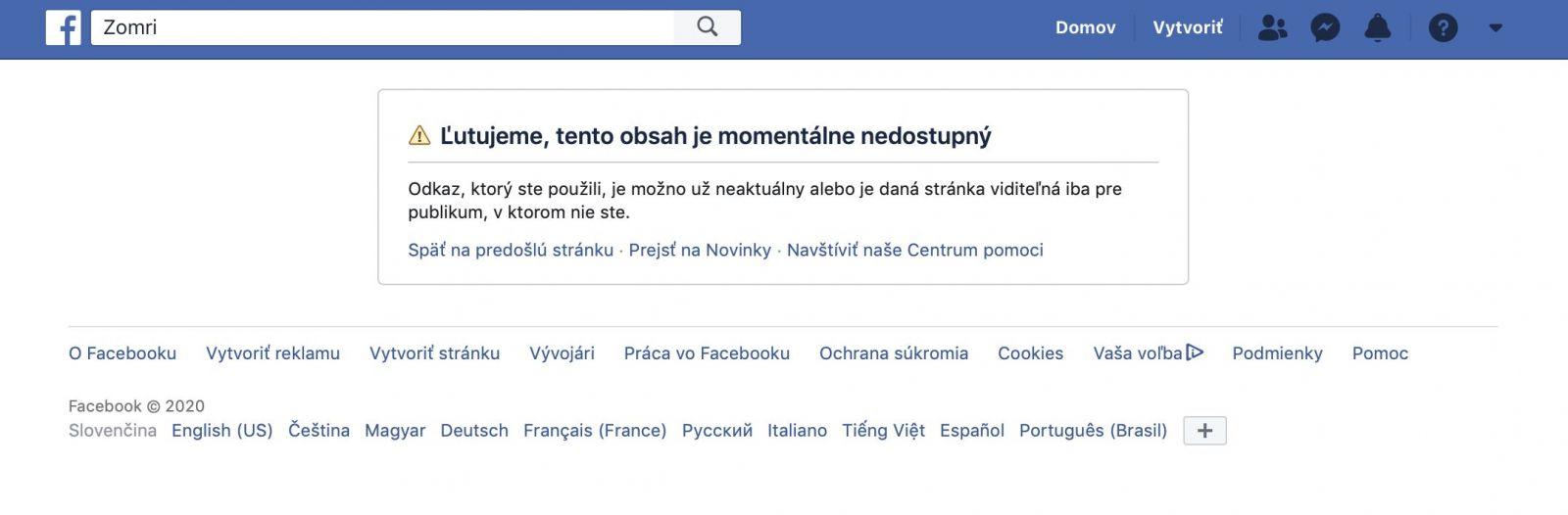 Satirickú stránku Zomri na Facebooku aktuálne nenájdeš. Kvôli chybe museli pozastaviť činnosť