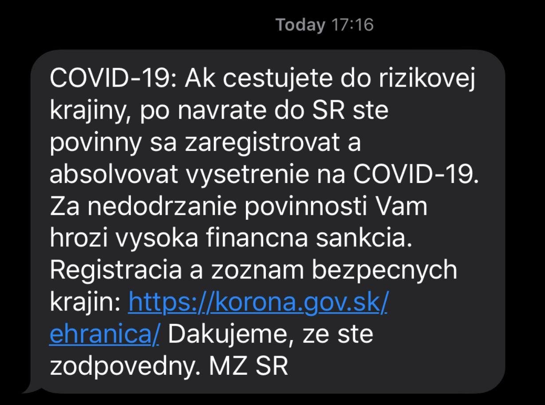 Ak cestuješ do rizikovej krajiny, po návrate musíš ísť na vyšetrenie. Ministerstvo v SMS správe varuje pred pokutou