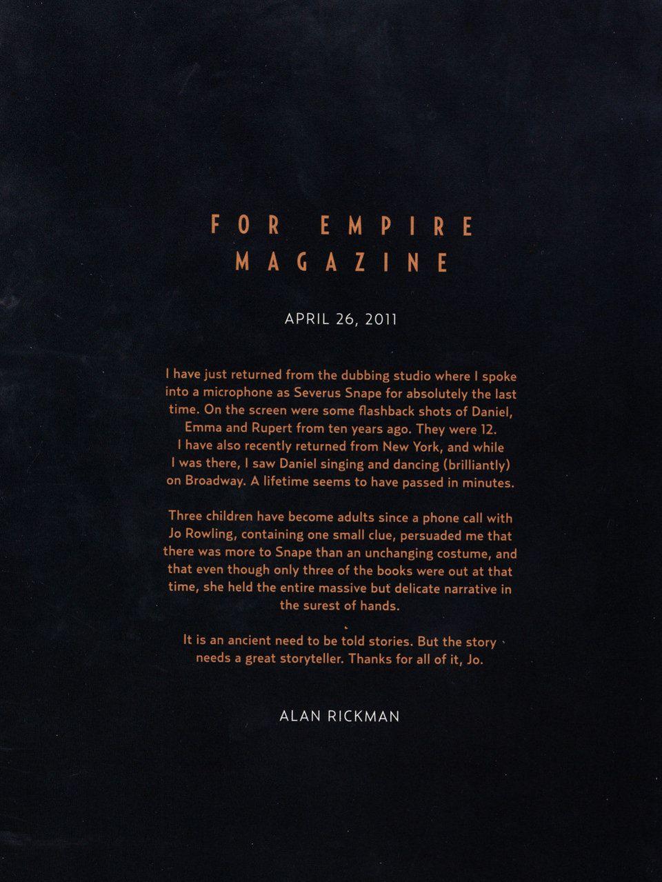 Pred tromi rokmi nás opustil Alan Rickman. Týmto listom sa lúčil so ságou Harryho Pottera