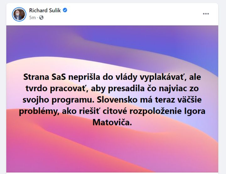 Sulík: Slovensko má väčšie problémy ako riešiť citové rozpoloženie Igora Matoviča
