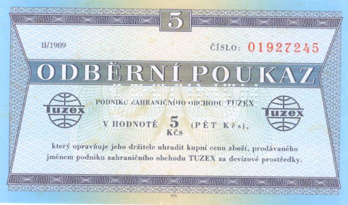 """Tuzexová poukážka (tzv. """"bony"""") v hodnote 5 Kčs"""