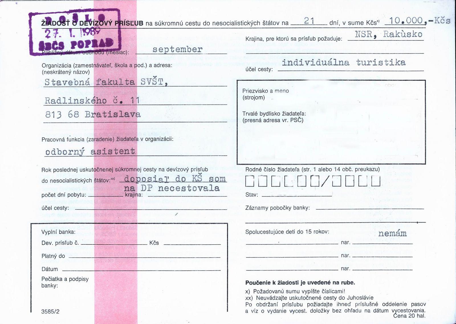 Žiadosť o devízový prísľub z roku 1989