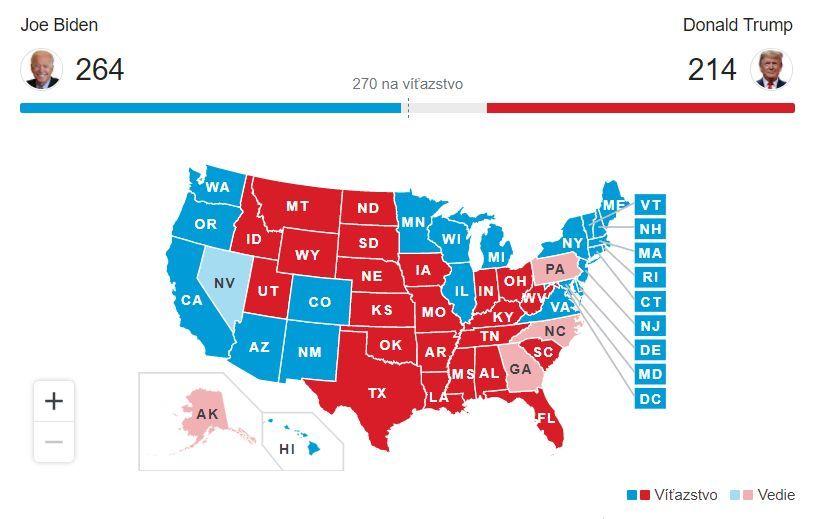 Priebežné výsledky amerických prezidentských volie.