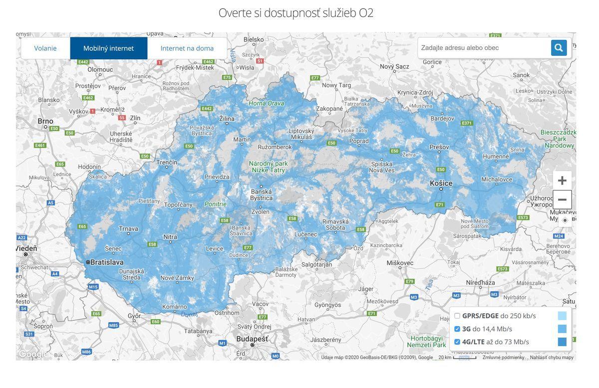 Mapa pokrytia O2