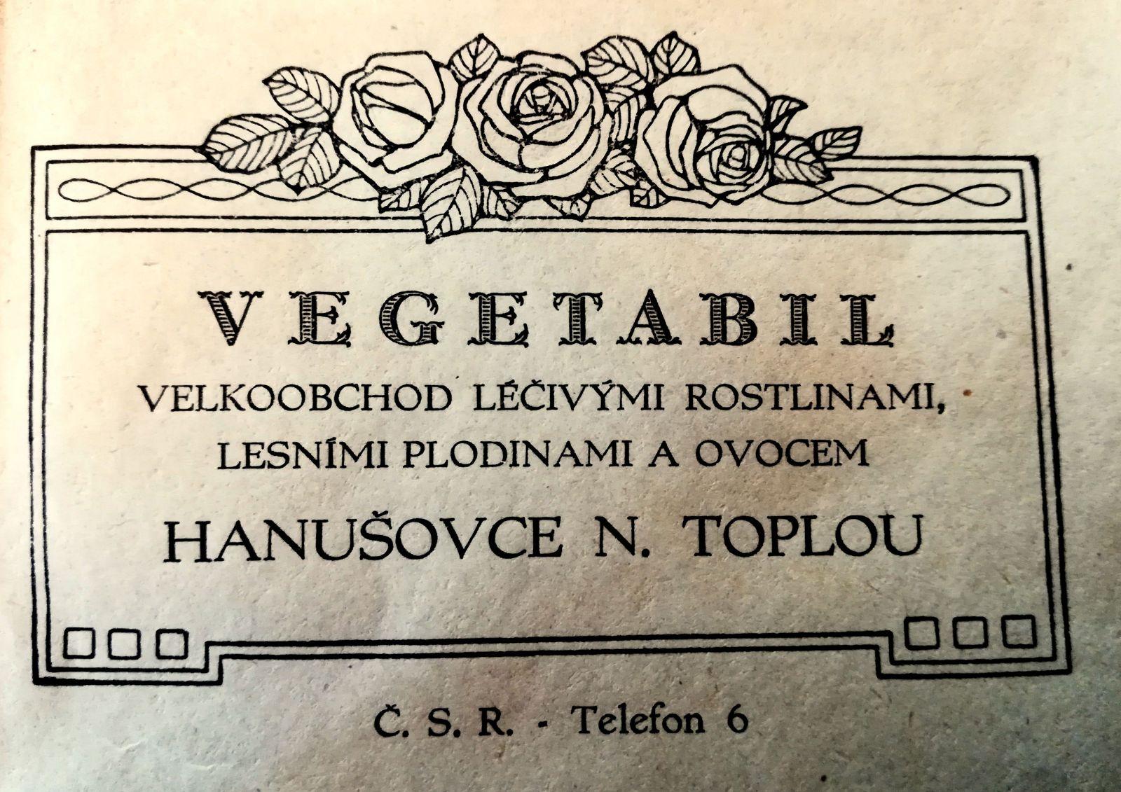 Logo spoločnosti Vegetabil hanušovského obchodníka Alexandra Wohla.