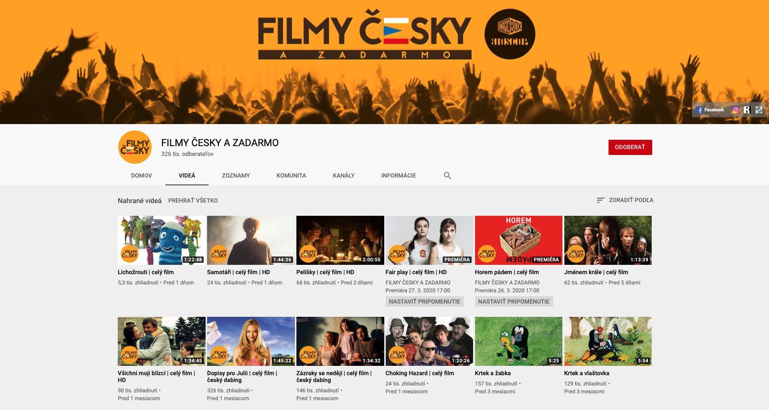Na YouTube pribudli desiatky filmov s českým dabingom. V karanténe ich môžeš pozerať legálne a zadarmo