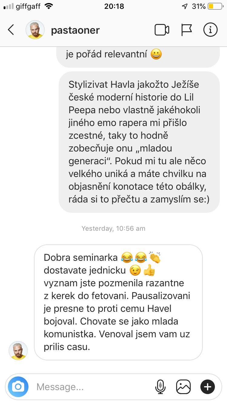 Český umělec Pasta Oner nechutně urážel mladou dívku, které se nelíbila jeho obálka s Havlem pro Vogue