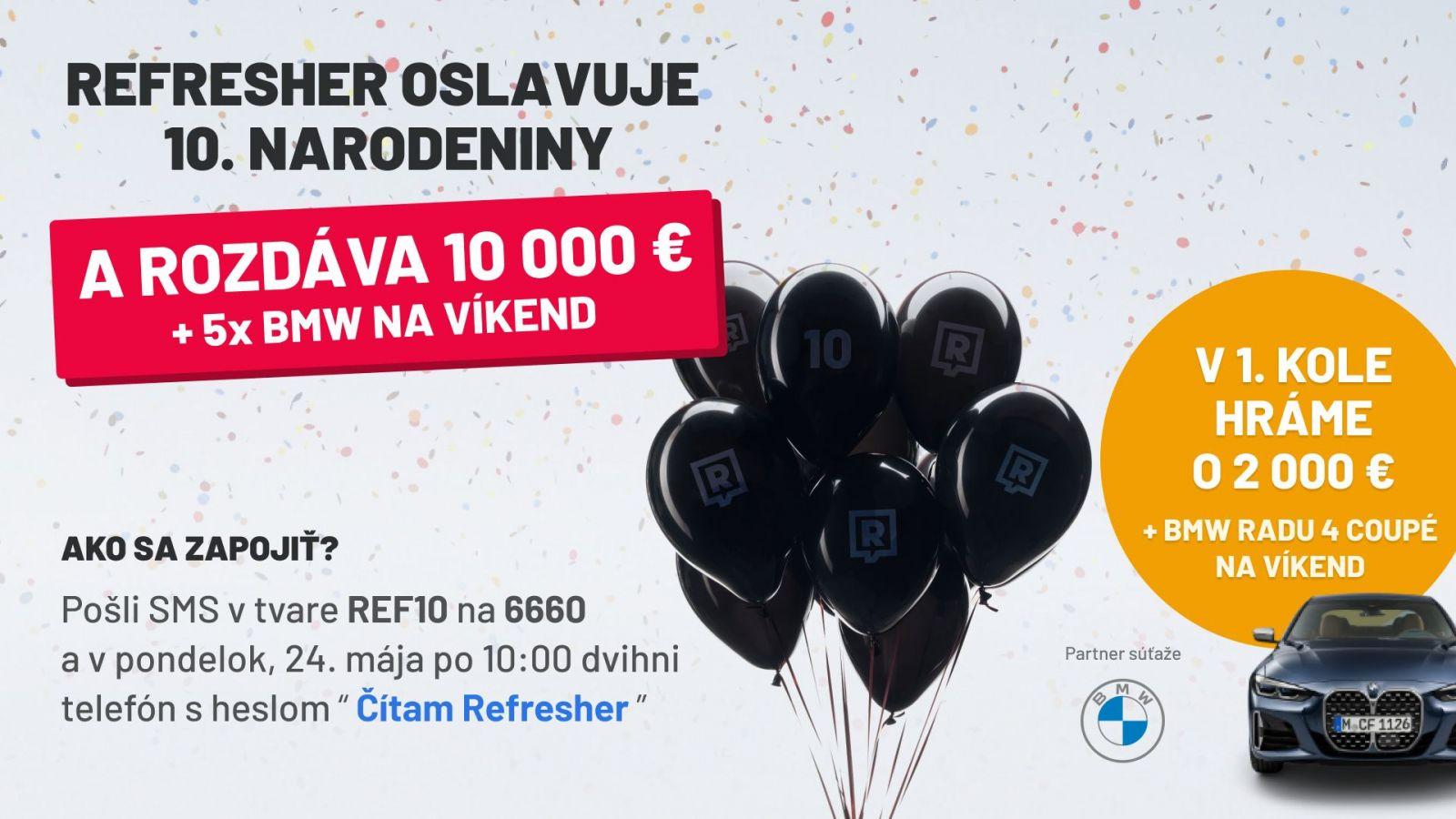 Osláv s nami 10. narodeniny a vyhraj 2000 eur a BMW radu 4 Coupé na víkend