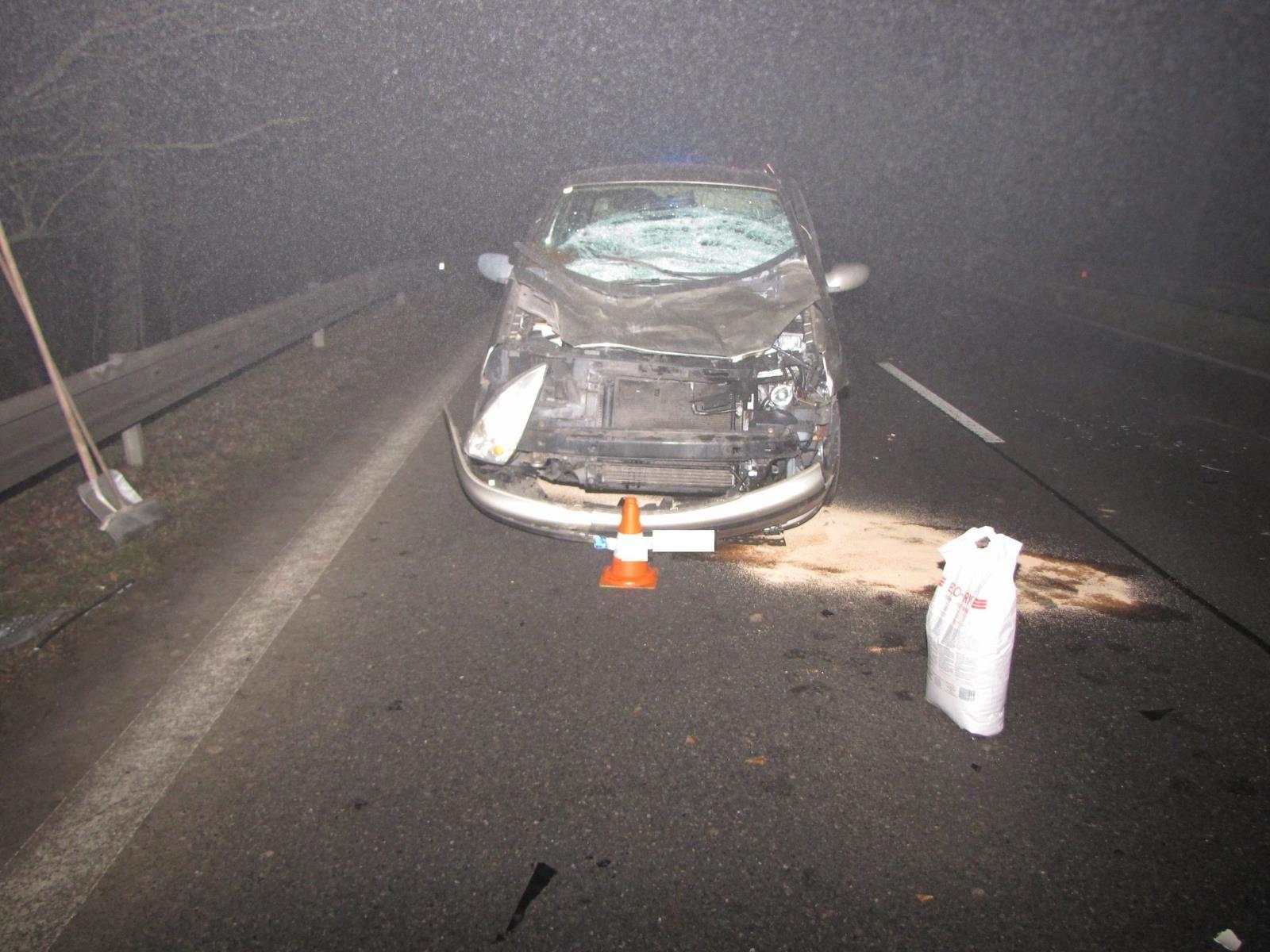 Kráva na silnici v husté mlze překvapila řidiče na Prachaticku. Zvíře střet s autem nepřežilo