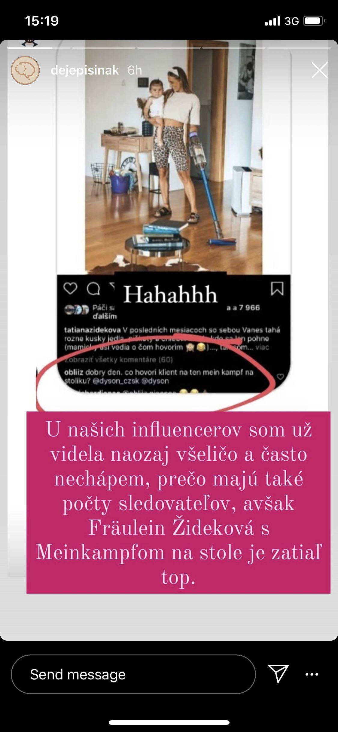 Slovenská influencerka pridala fotku, vo výbere kníh nechýbal Mein Kampf. Vlna kritiky ju donútila zmazať to a ospravedlniť sa