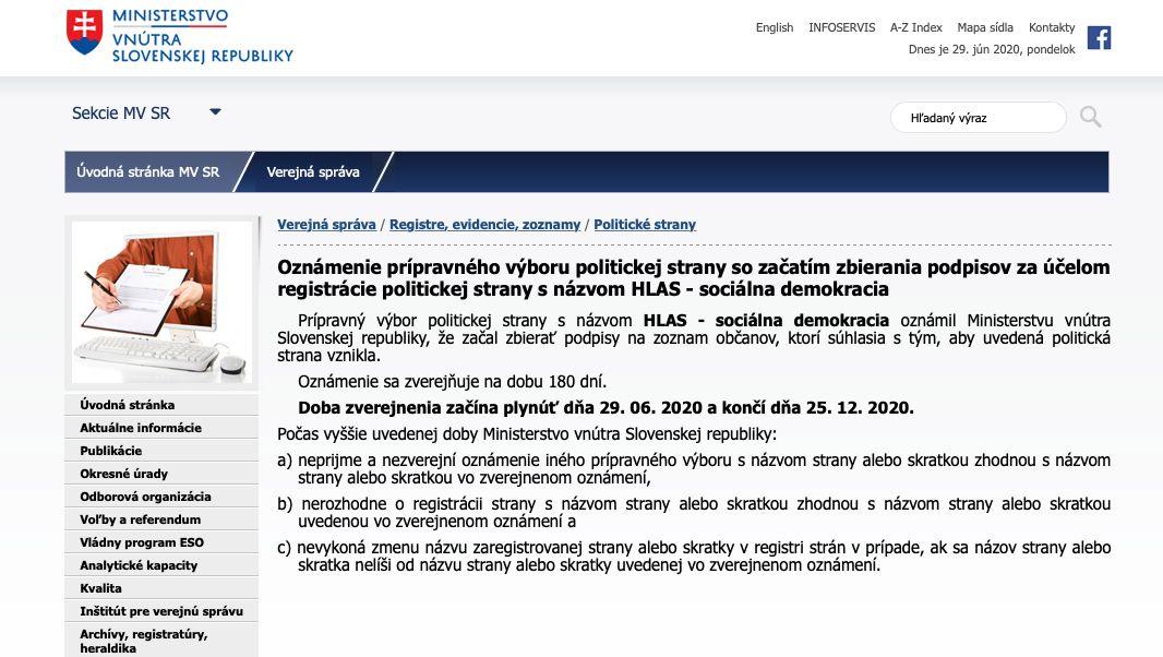Peter Pellegrini sa s novou stranou už zaregistroval na ministerstve vnútra. Bude sa volať HLAS - sociálna demokracia