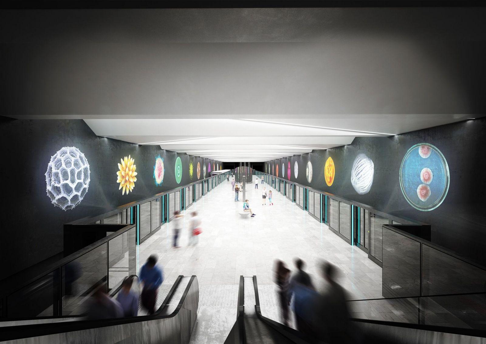 Takto stylově budou vypadat stanice metra D. Praha odhalila vítězné umělecké vizualizace tří stanic modré linky