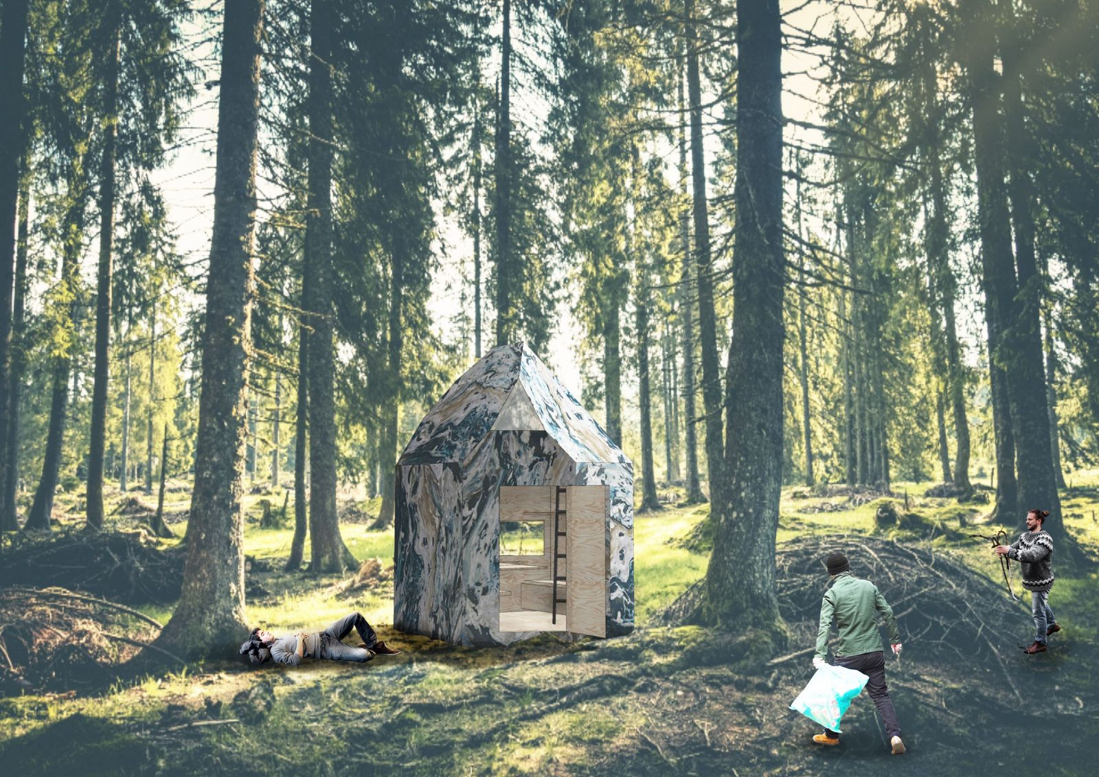Studenti chtějí zbavit české lesy odpadu. Z použitého plastu staví chatky, ve kterých může kdokoli přespat