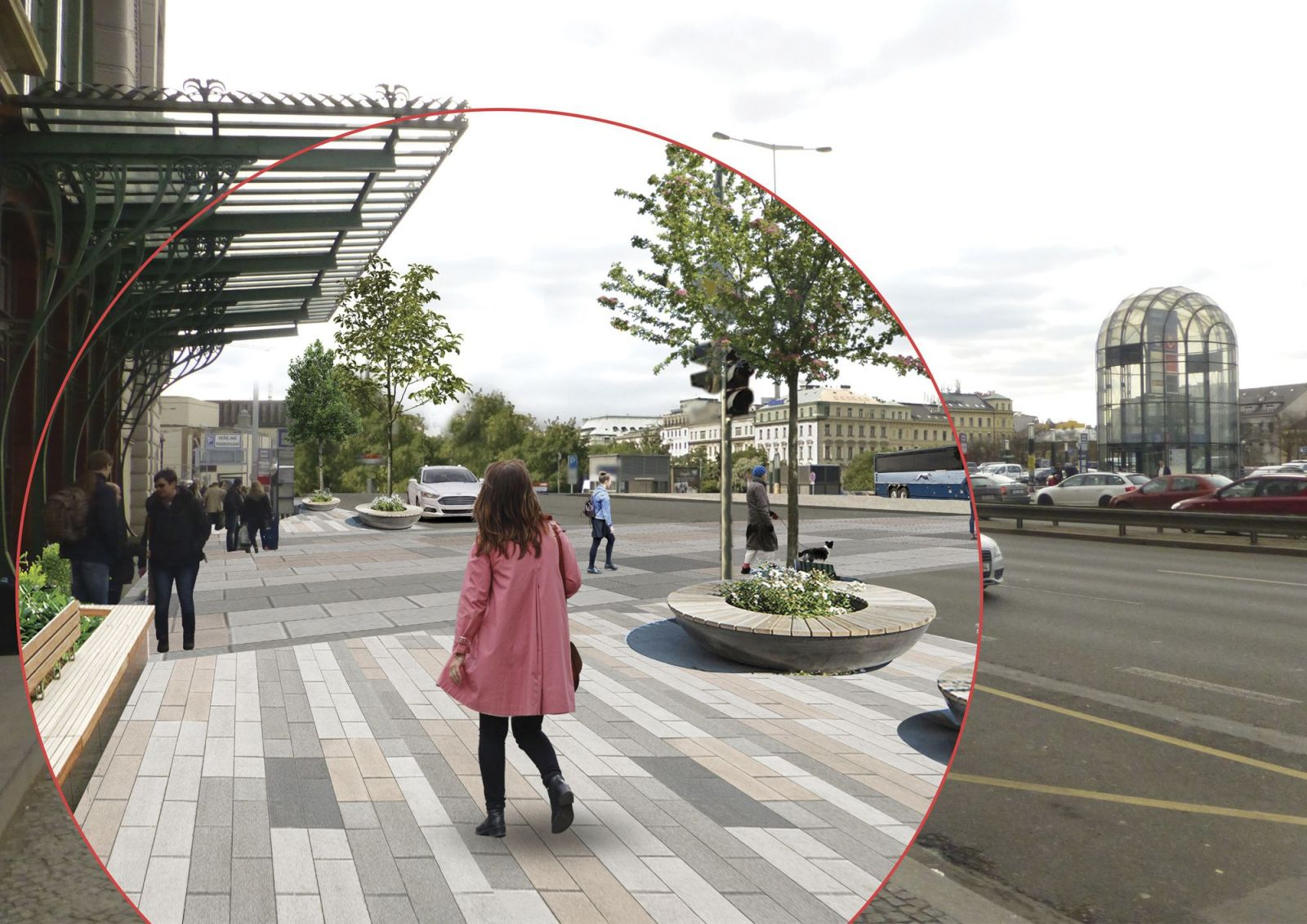Fantova budova. Mezi stáním autobusů naproti nádraží a Fantovou budovou by v dlouhodobém horizontu mohl vzniknout pohodlný přechod, který by umožnil architektonický skvost obdivovat i z odstupu.
