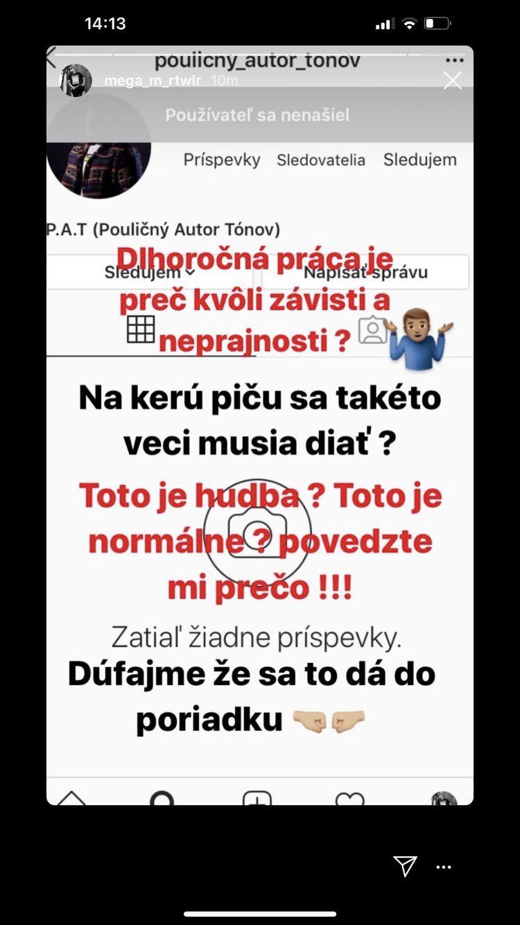 Instagramový účet Pouličného autora tónov bol zablokovaný