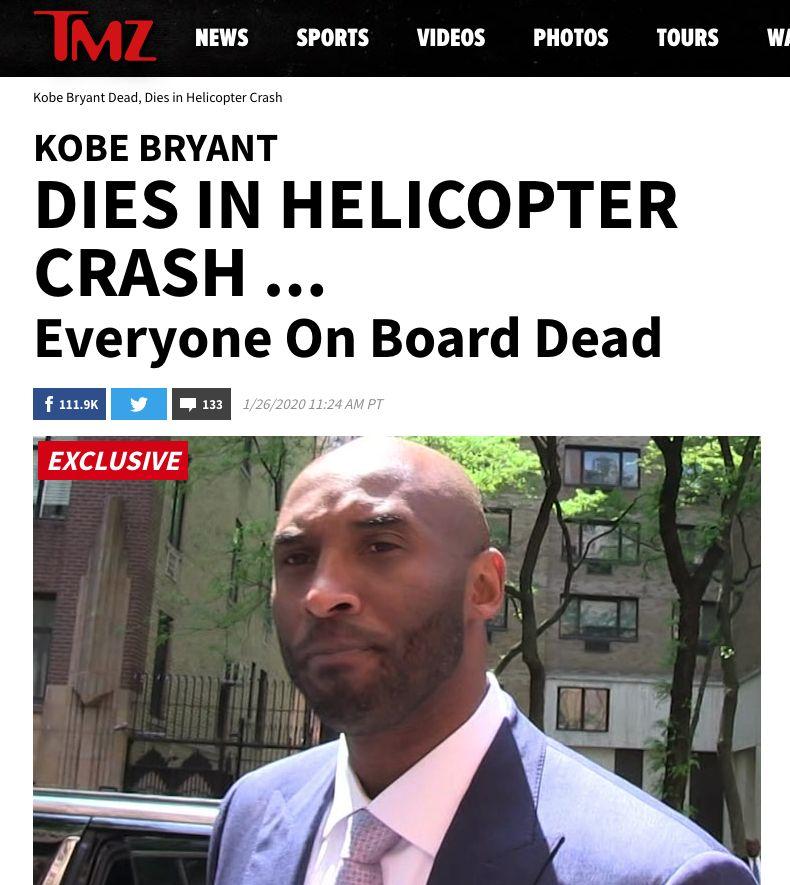 Kobe Bryant zomrel po havárii helikoptéry, všetci boli na mieste mŕtvi