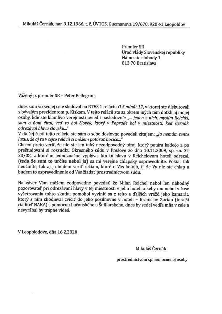 Mafián Černák žiada ospravedlnenie od Petra Pellegriniho. Tvrdí, že hlavu nerezal a Reichela chránia policajní šéfovia