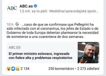 Španielsky spravodajský server šíri nepravdivú informáciu o tom, že je u Petra Pellegriniho podozrenie na koronavírus