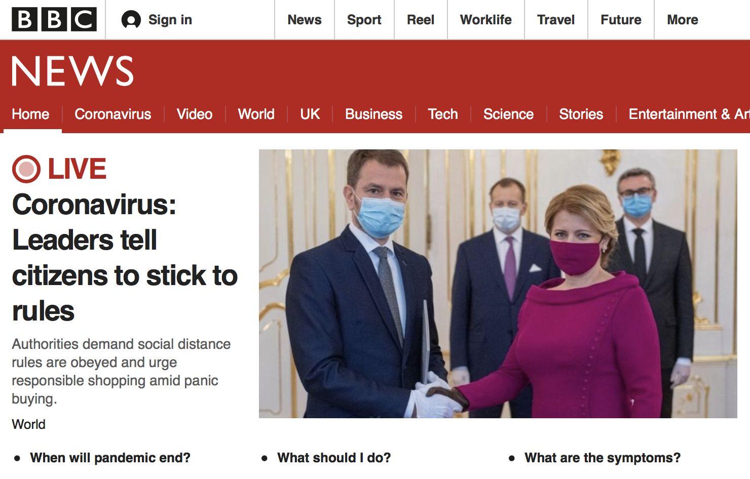 Slovenská vláda je na titulke BBC a ďalších svetových denníkov