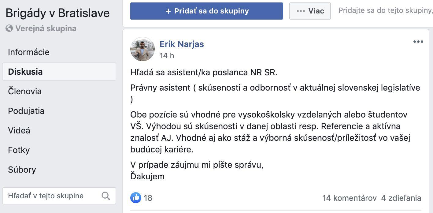 Zvolený kandidát OĽaNO hľadá asistenta do Národnej rady v skupine pre brigádnikov