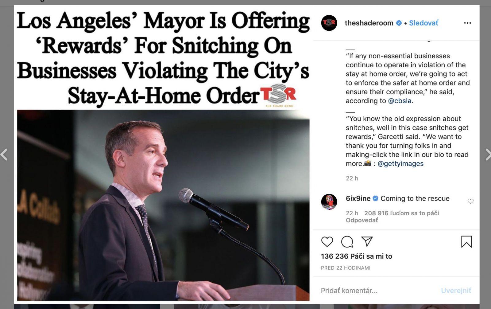 6ix9ine je späť na Instagrame a trolluje. Chce pomôcť udať všetkých, ktorí porušujú karanténu počas pandémie