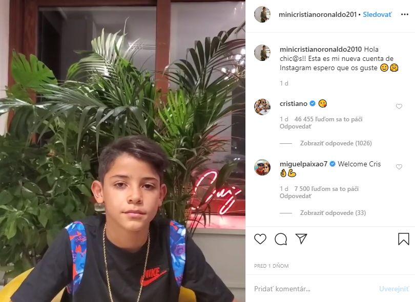 Cristiano Ronaldo mladší si založil Instagram a za dva dni ho sleduje milión ľudí. Virtuálnu pusu mu poslal aj jeho slávny ocko
