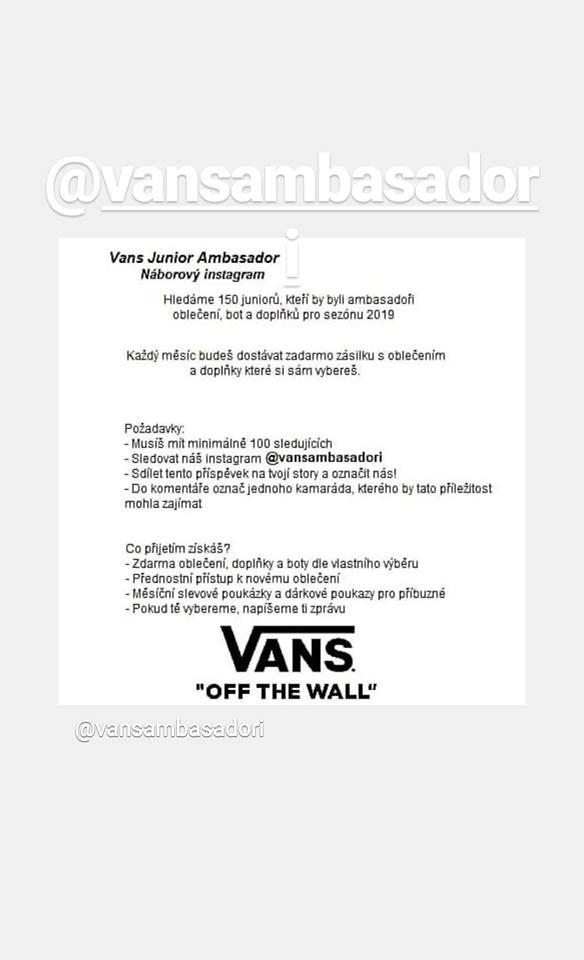 Na slovenskom Instagrame sa šíria falošné správy o nábore influencerov pre  Vans 86b05201995